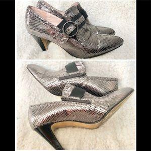 Bellini faux metallic snake skin pointy toe heels.